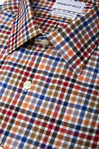 Close up of fabric of multi checks twill dress shirt