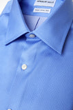 Dotted Blue shirt folded with close up of fabric
