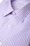 Purple Checks shirt folded with close up of fabric