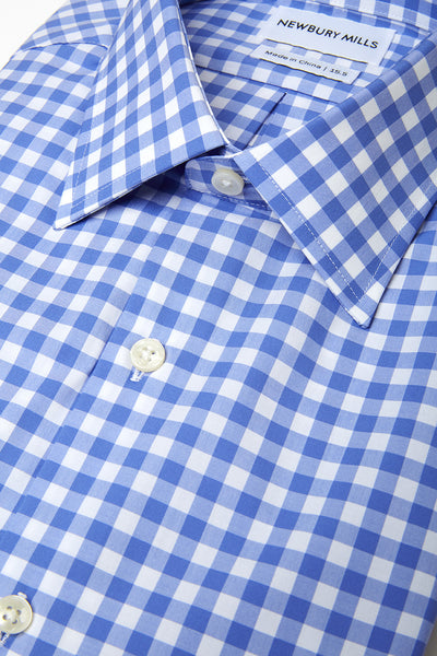 Blue Checks shirt folded with close up of fabric