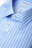 Striped Blue Shirt with close up of fabric and banker stripe design