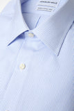 Thin Blue Stripes shirt folded with close up of fabric
