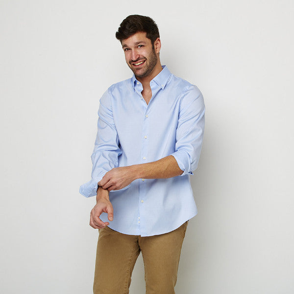 Blue Oxford Button Down Shirt, worn casually untucked