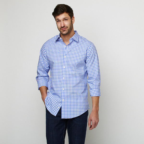 Blue Checks shirt worn casually untucked