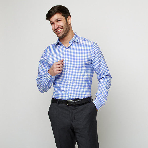Blue Checks shirt worn formally and tucked in