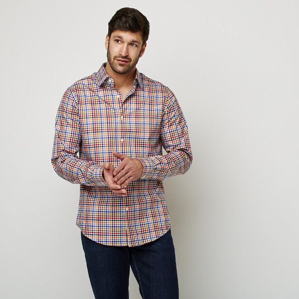 Multi Checks Twill shirt worn casually untucked