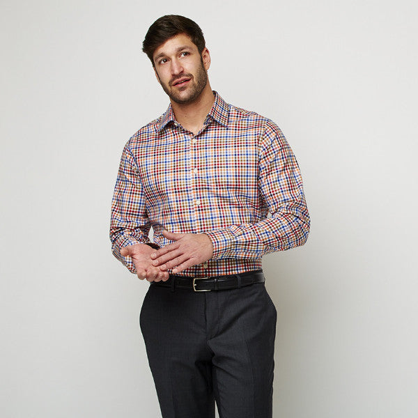 Multi Checks Twill shirt worn formally tucked in