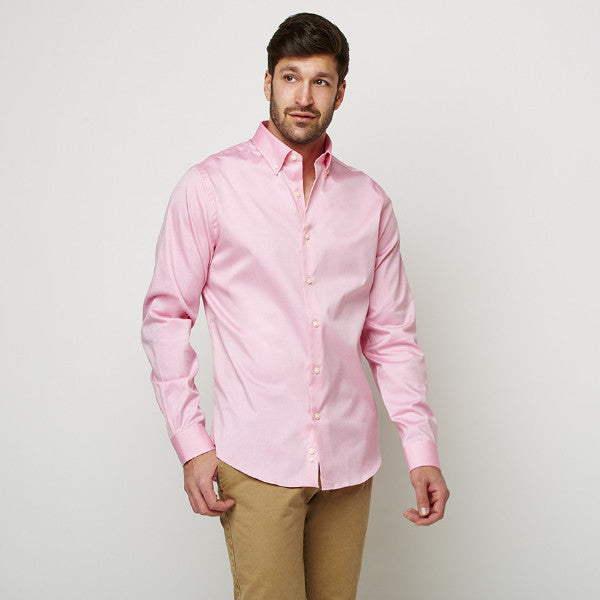 Peach Oxford Button Down shirt worn casually untucked