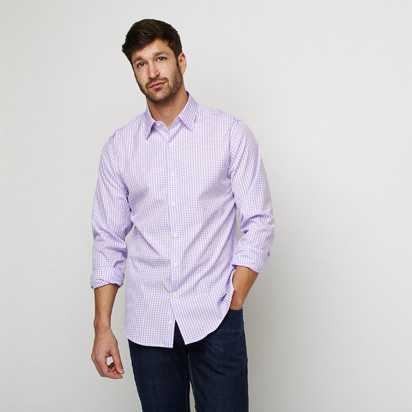 Purple Checks shirt worn casually untucked