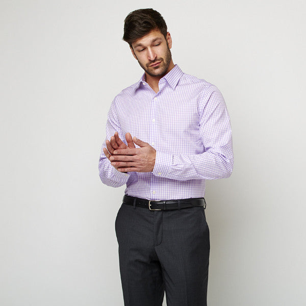 Purple Checks shirt worn formally tucked in