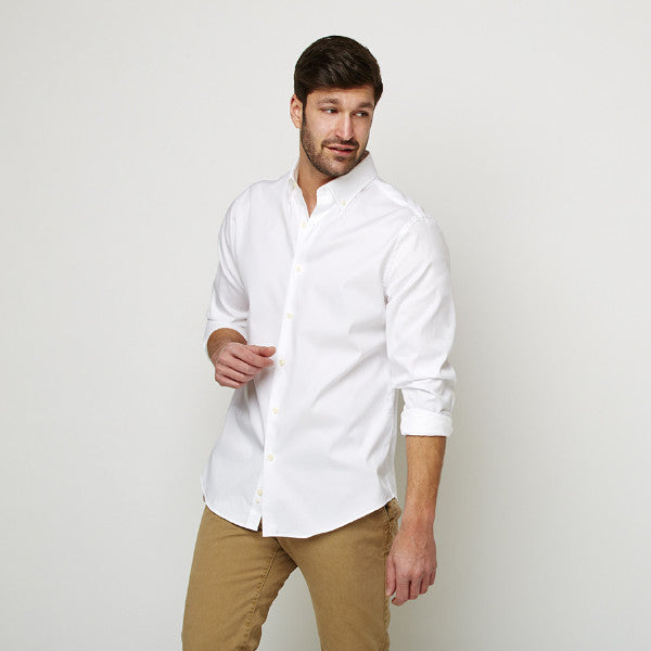 White Oxford Button Down shirt worn casually untucked