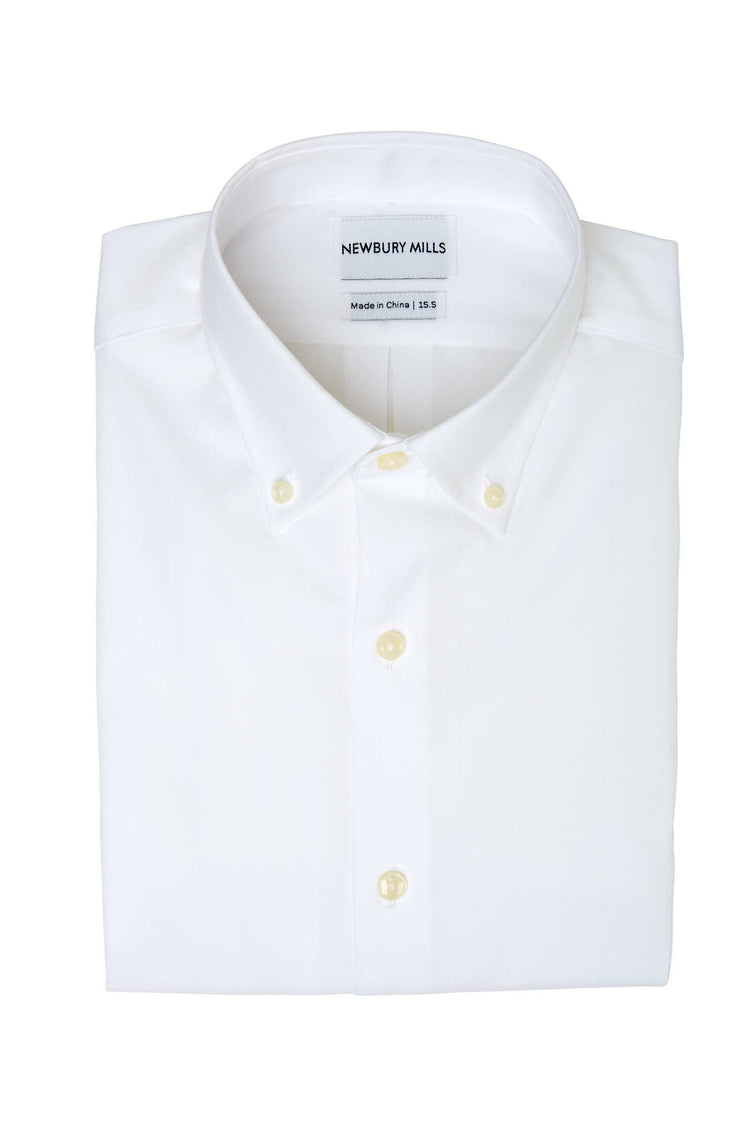 White Oxford Cloth Button Down Dress Shirt Folded