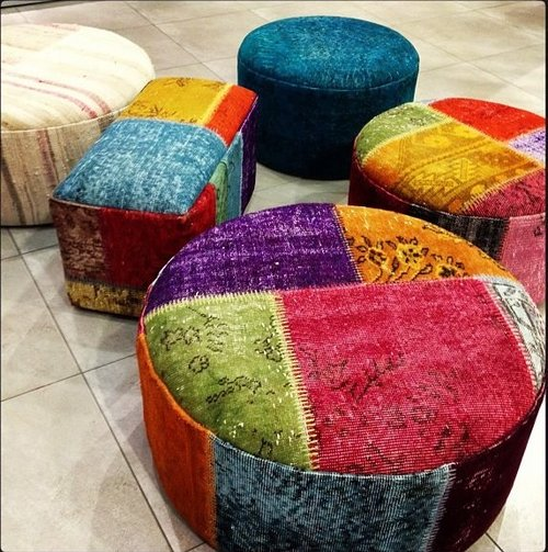 colorful ottoman poufs online by The Orient Bazaar