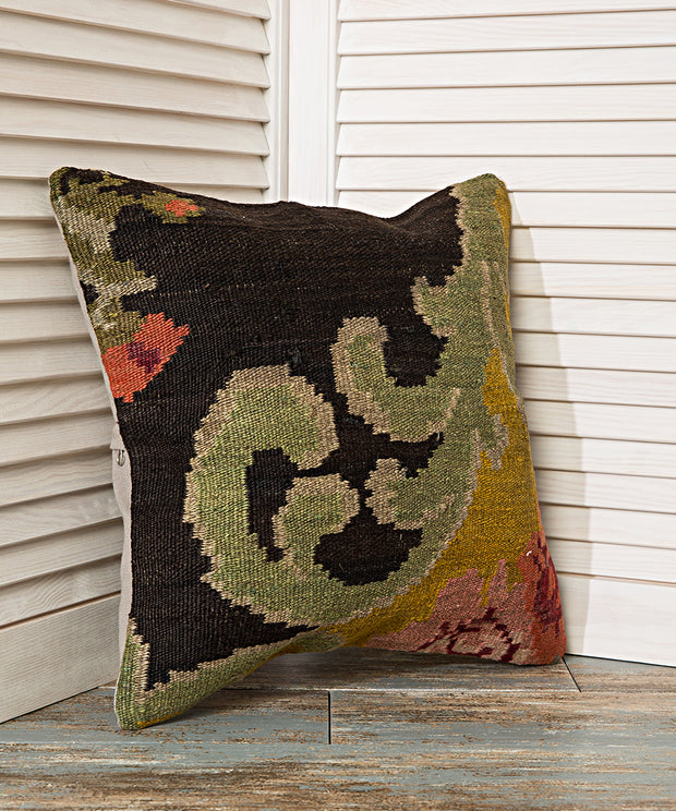 green floral black pillow