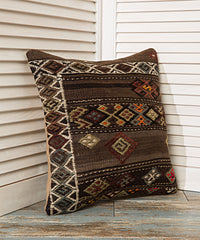 Dark Brown Diamond Kilim Pillow