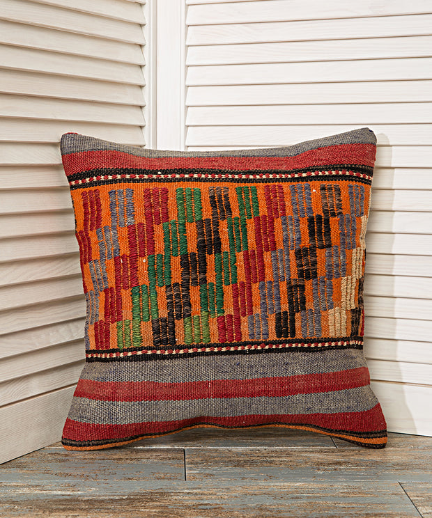 orange embroidery pillow