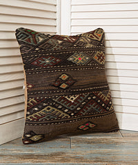 Dark Brown Ethnic Pillow