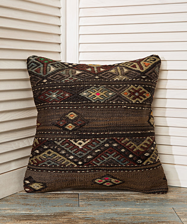 embroidered striped pillow