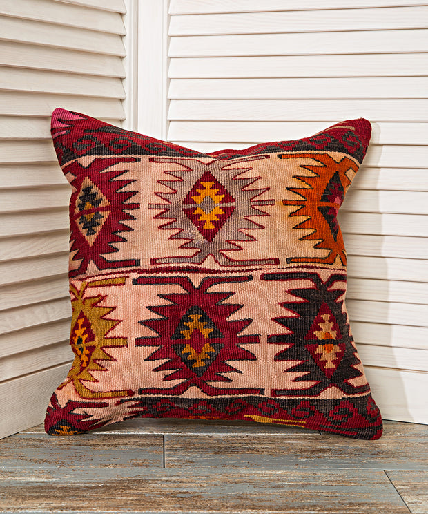 geometric red pillow