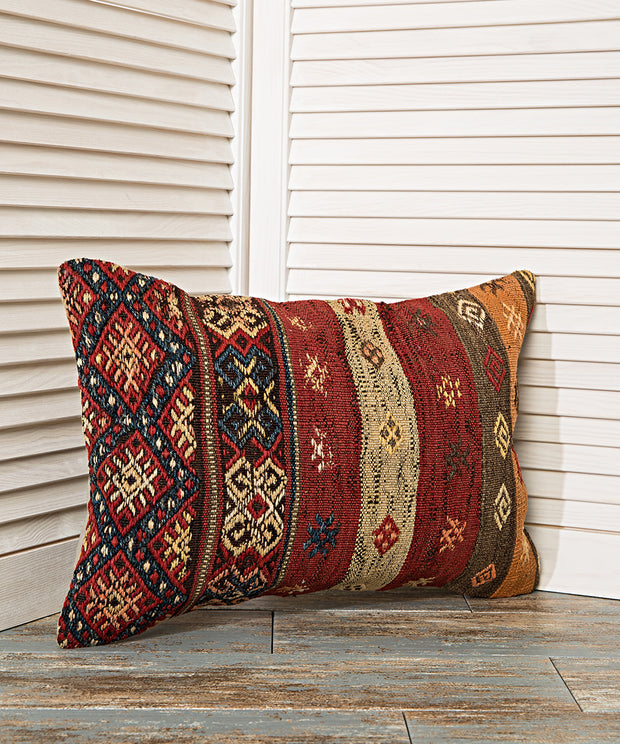 bright colored tribal pillow
