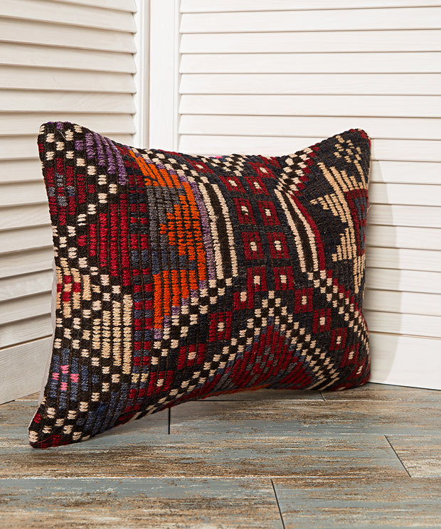 geometric red and black pillow