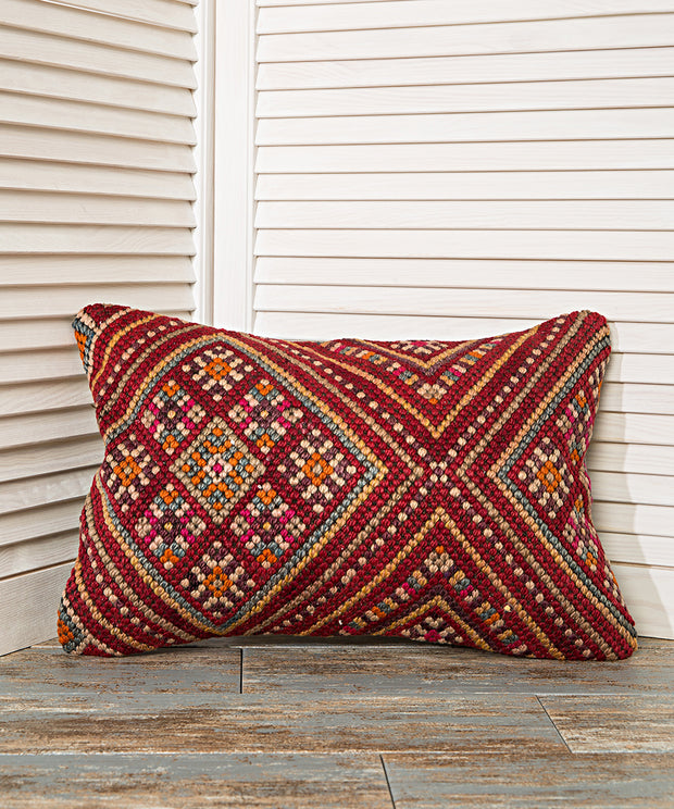 decorative red kilim pillow