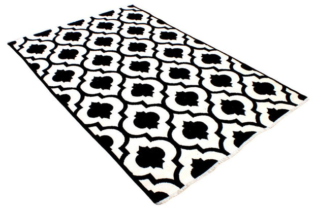 Double Sided Modern Area Rug - Black/White