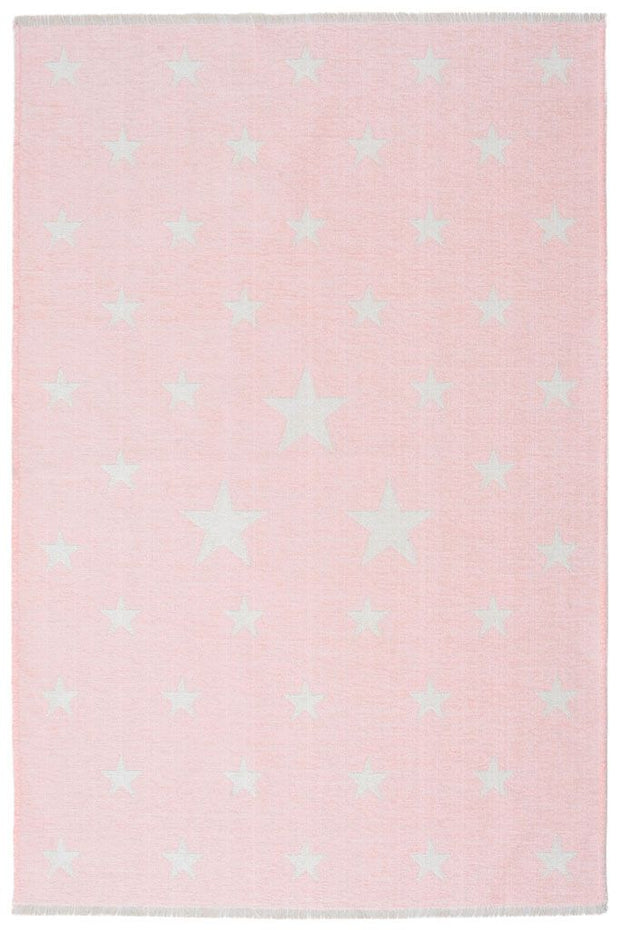 Double Sided Kids Room Rugs - Stars Pink/White