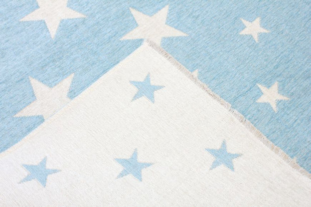 Double Sided Kids Room Rugs - Stars Blue/White