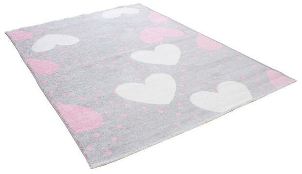 Kids room Carpet - Double Sided Hearts Pink - Grey