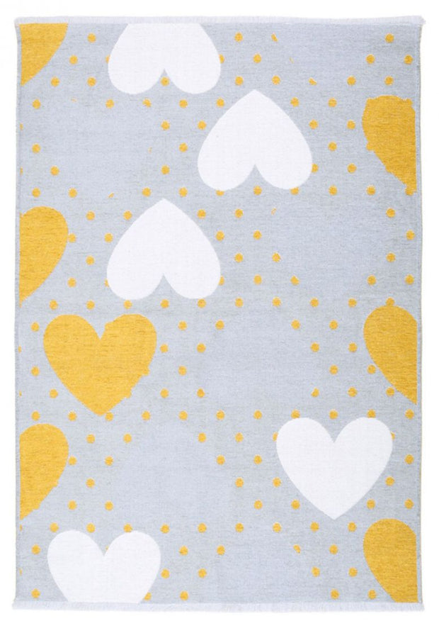 Kids room Carpet - Double Sided Hearts Yellow - Grey