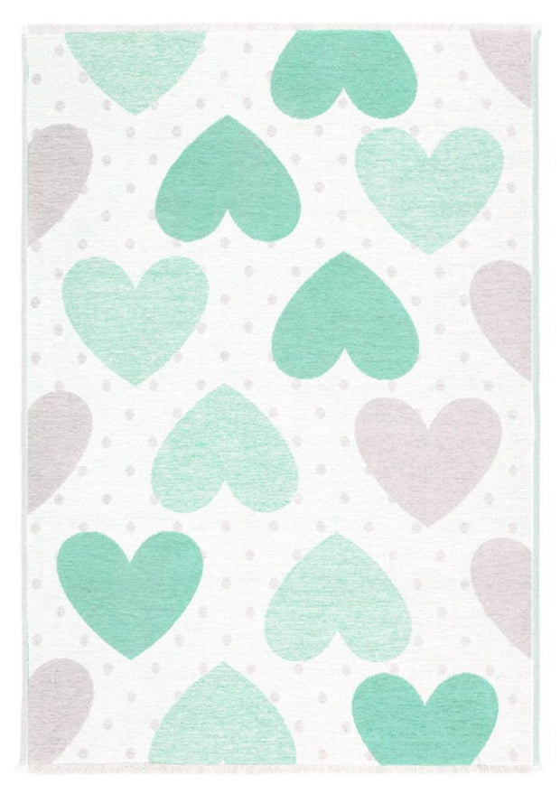 Kids room Carpet - Double Sided Hearts Green/Grey