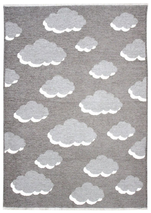 Kids room Carpet - Double Sided Clouds Red/Blue