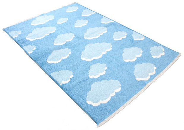 Double Sided Kids Room Rugs - Blue/White
