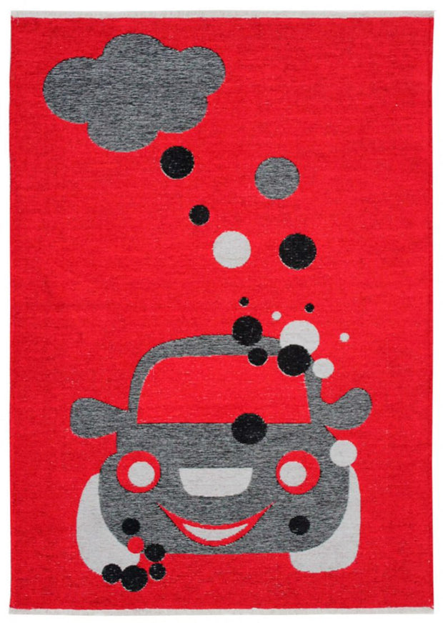 Kids room Carpet - Double Sided Red/Grey
