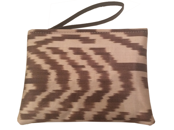 The Orient Bazaar - Small Ikat Pouch - Cream And Brown Color Ikat Clutch Bag - Zipper Bag - Makeup Bag - Money Bag