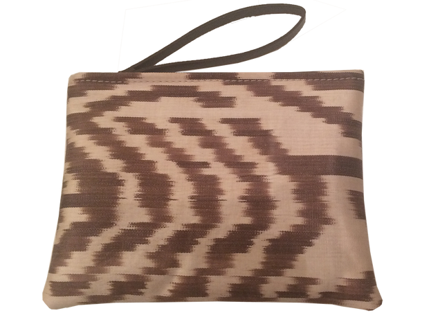 Brown Ikat Pouch