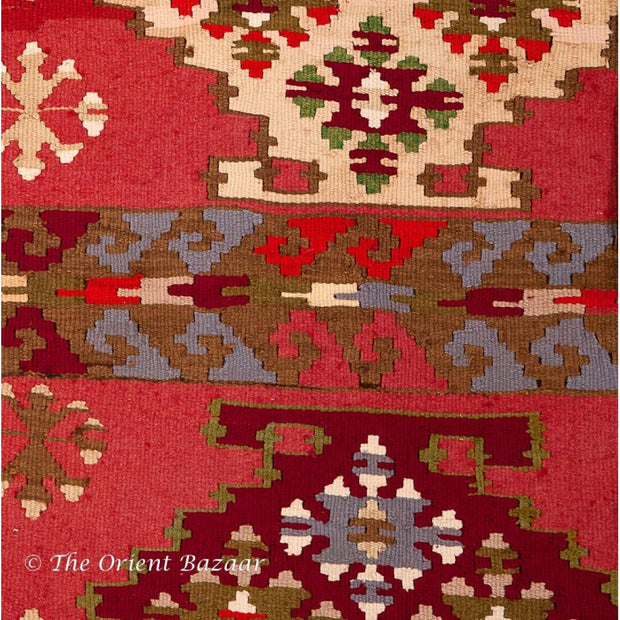Yugoslavian Kilim Rug With Pale Background Rugs