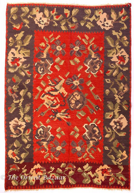 Yugoslavian Kilim Rug With Red & Brown Tones Rugs