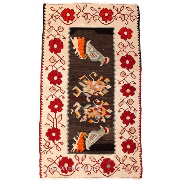 Yugoslavian Kilim Rug With Colourful Bird Motifs Rugs