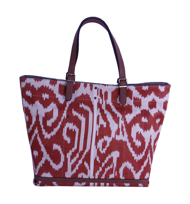Red Ikat Tote Bag