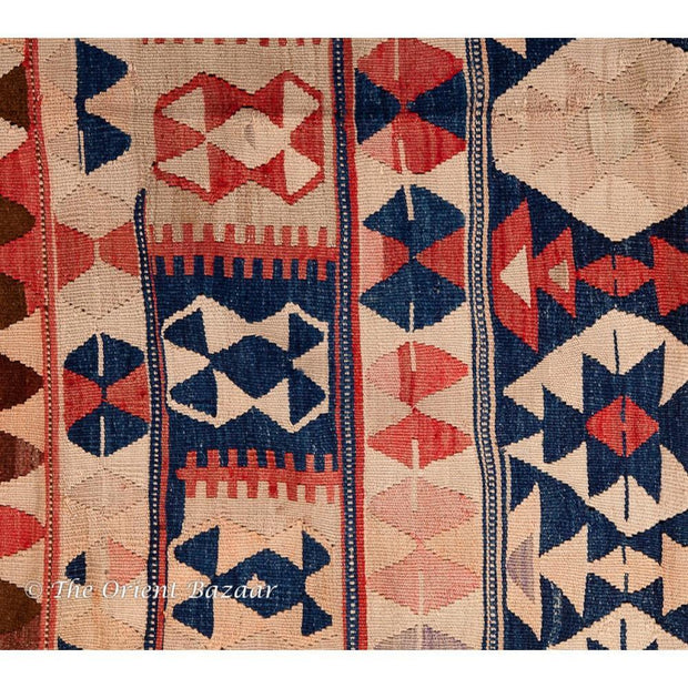 Turkish Kilim Runner With Bright Geometrical Pattern Runners