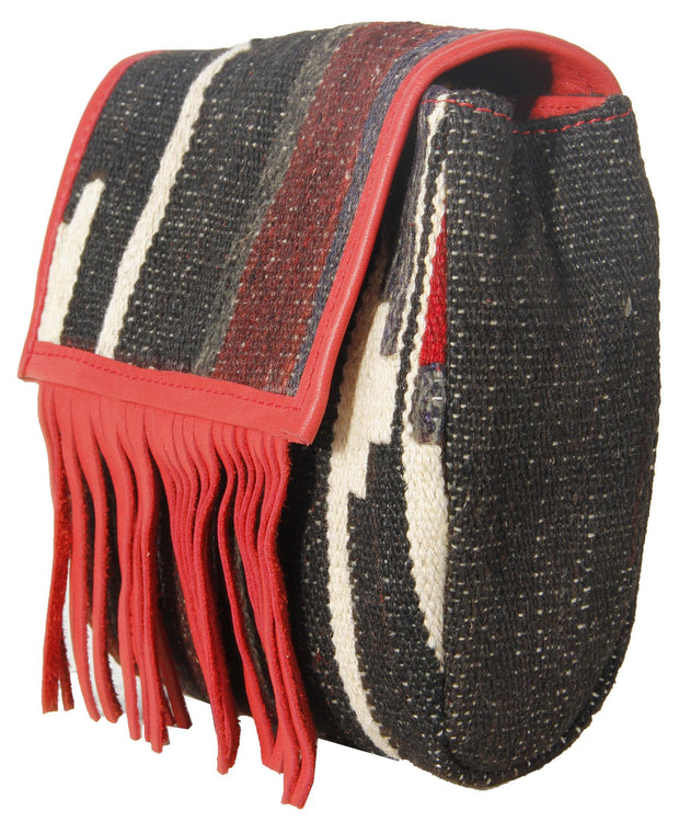 Fringed Red & Black Retro Crossbody Bags