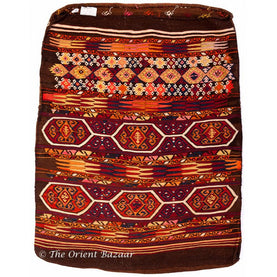 Turkish Vintage Kilim Sack - Reddish & Brown Geometric Motifs Sacks