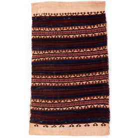 Turkish Kilim Sack - Cream Edge & Dark Stripes Sacks