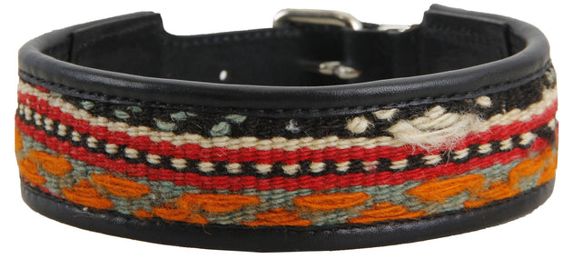 Black Leather Kilim Dog Collar