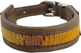 Kilim Collar - 35X2 Dog Made Of Handmade Yellow Color Turkish Rug Collars