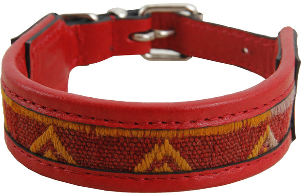 Kilim Dog Collar - Red Color Small Size Rug Collars
