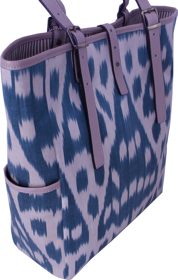 Ikat Tote Bag - Gorgeous Woman With Teal Color And Genuine Leather Bags