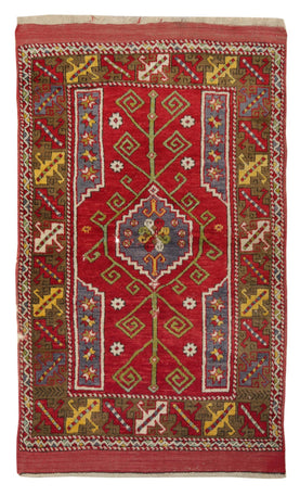 Turkish Handwoven Carpet - Vintage Red Otantic Rug With Medallion Pattern Carpets